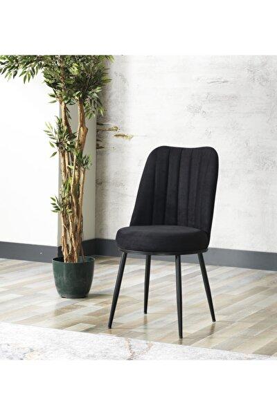 Zeyra Siyah Metal Ayaklı Siyah Renk Mutfak Sandalyesi-yemek Masası Sandalyesi