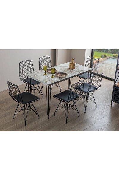 Amsterdam Tel Mutfak Beyaz Masa Takımı 6 Sandalyeli
