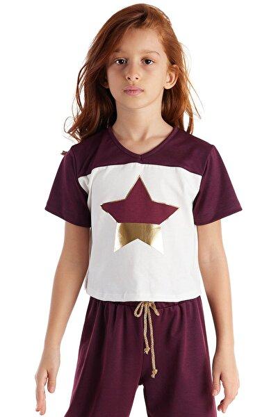 Burgundy Star Foil Tshirt Beyaz