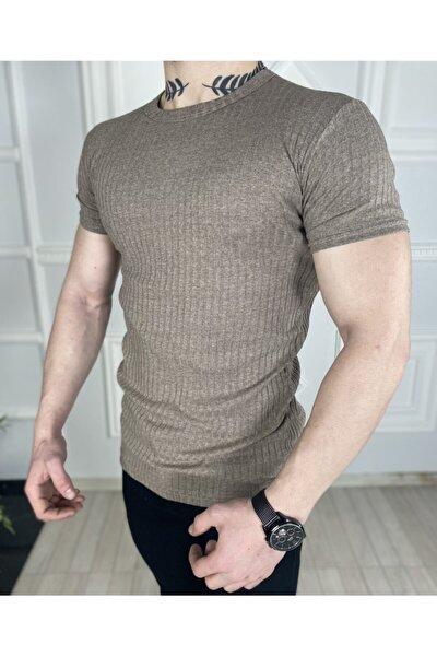 Erkek Vizon Örme Triko  Tshirt