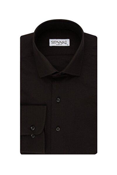 Slim Fit Siyah Erkek Düz Gömlek