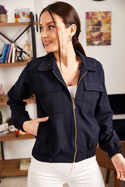 Kadın Lacivert Cepli Fermuarlı Mevsimlik Ceket ARM-21K001182