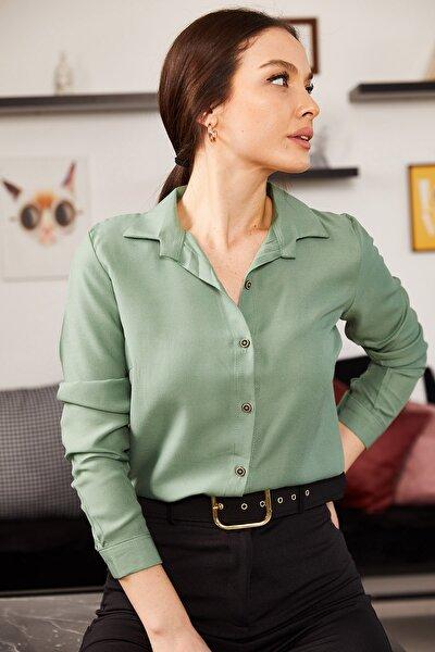 Kadın Yeşil Uzun Kollu Düz Gömlek ARM-18Y001176