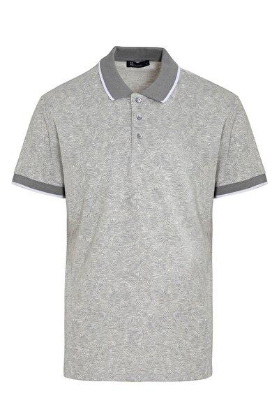 Gri Baskılı Polo Yaka Tişört