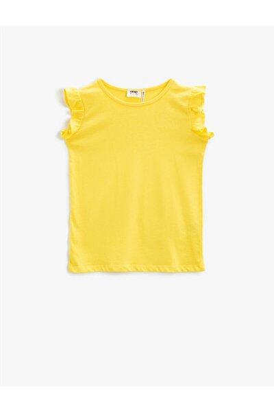 Kız Çocuk Sarı Fırfır Kollu T-shirt