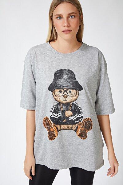 Kadın Gri Baskılı Oversize Uzun Penye T-shirt ZV00105
