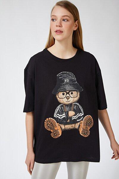 Kadın Siyah Baskılı Oversize Uzun Penye T-shirt ZV00105