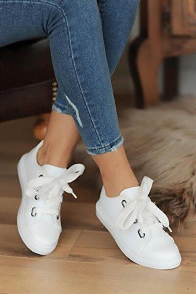 Kadın Beyaz Kalın Bağcıklı Günlük Ayakkabı Byndmdx01