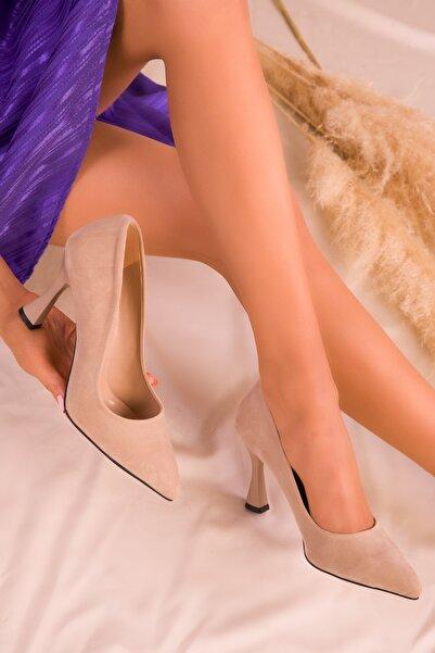 Ten Süet Kadın Klasik Topuklu Ayakkabı 16002