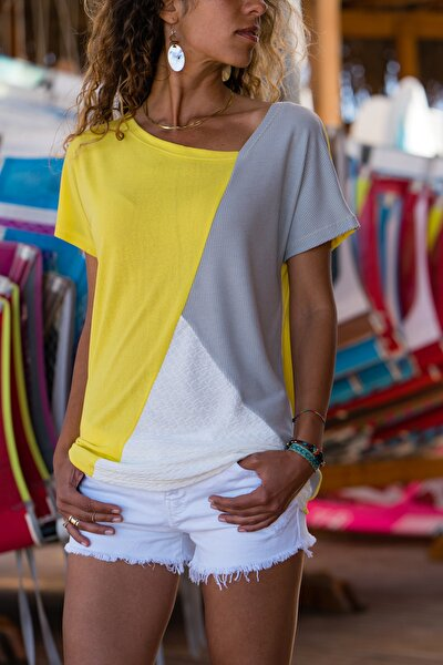 Kadın Sarı Color Block Salaş T-Shirt GK-JR402