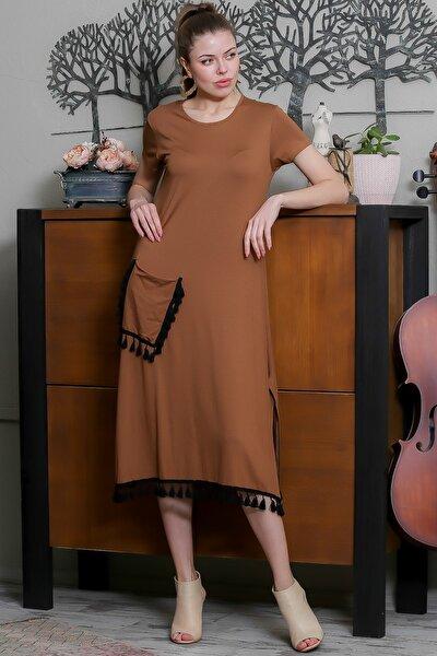 Kadın Kahve Sıfır Yaka Dev Püskül Detaylı Cepli Salaş Elbise M10160000EL95520