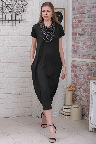 Kadın Siyah Sıfır Yaka Kısa Kollu Gizli Cepli Salaş Elbise M10160000EL95531