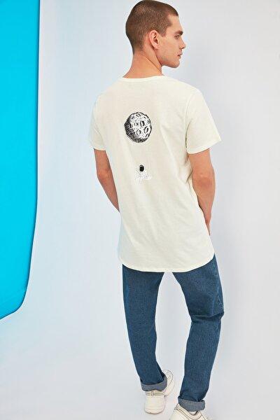 Mint Erkek Sırt Baskılı Bisiklet Yaka Long Fit T-Shirt TMNSS21TS0752