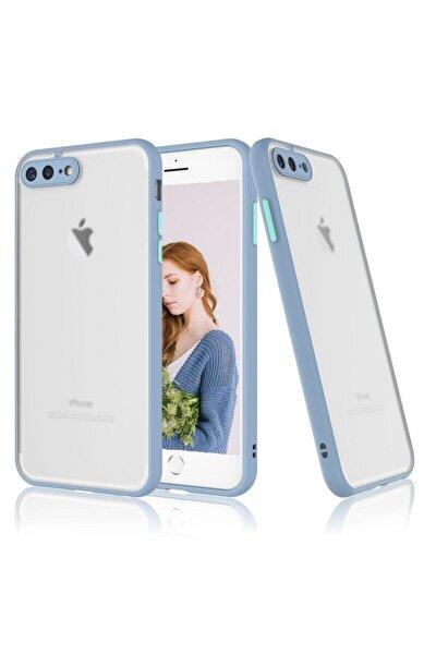 Iphone 7 Plus / 8 Plus Kenarları Renkli Kamera Korumalı Transparan Kılıf