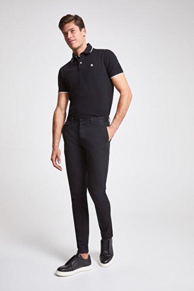 Erkek Siyah Armürlü Twn Slim Fit Chino Pantolon