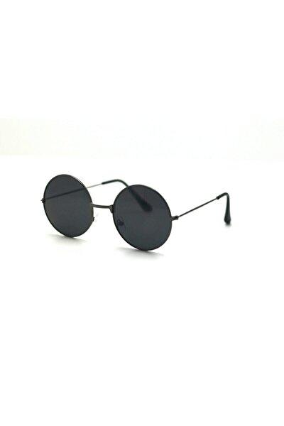 Yuvarlak Siyah Camlı Unısex Güneş Gözlüğü