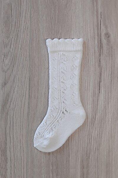 Kız Çocuk Krem File Dizaltı Çorap
