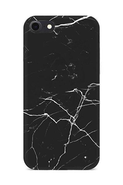 Iphone 7 Kılıf Marble Mermer Desenli Siyah Beyaz