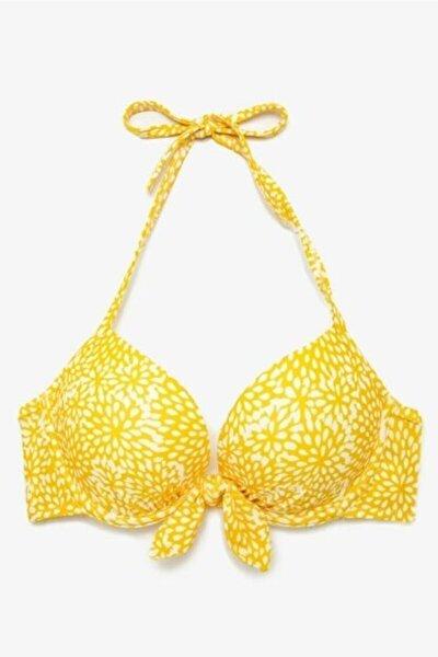 Sarı Desenli Full Destekli Bikini Üstü