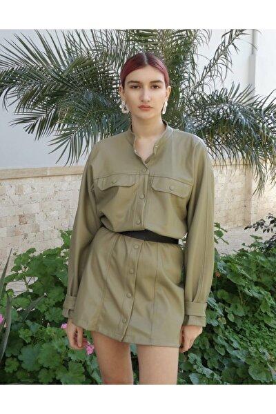 Kadın Haki Suni Deri Elbise