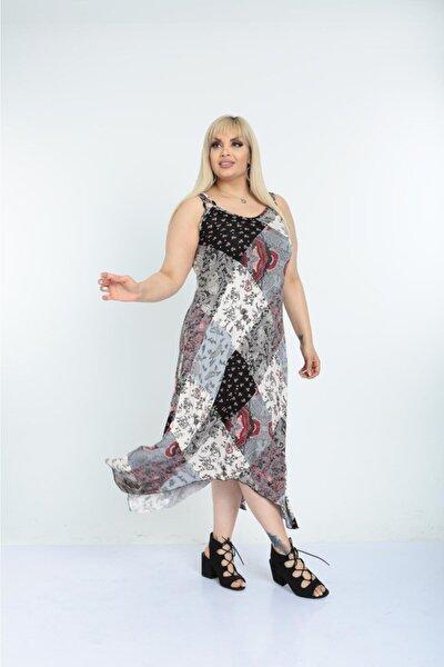 Kadın Gri Şık Yazlık Uzun Askılı Desenli Viskon Büyük Beden Elbise