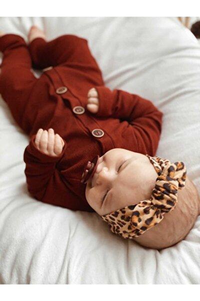 Kızılkahve 5 Düğmeli Kız Erkek Bebek Tulum