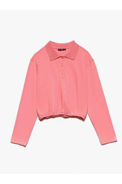 Kadın  3691 Polo Yaka Sweatshirt-pembe