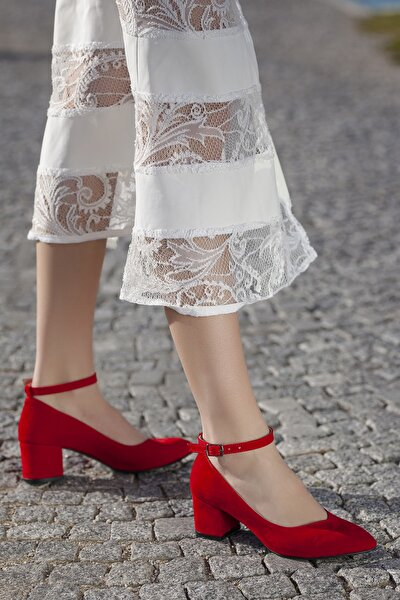 Kırmızı-Süet Kadın Ayakkabı DXTRSWMNDŞK715