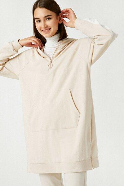 Kadın Ekru Pamuklu Kapüşonlu Şerit Detaylı Uzun Sweatshirt