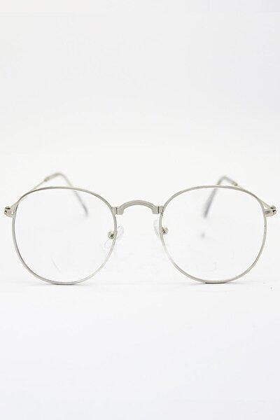 Unisex Gümüş Gözlük Retro Metal Şeffaf Lens