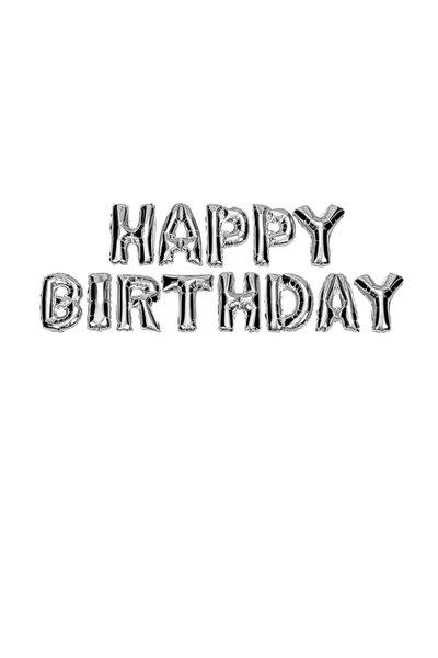 Happy Birthday Yazılı Harf Folyo Balon 40 Cm Gümüş