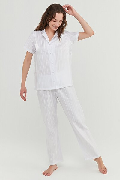 Kadın Optik Beyaz Bridal Satin Gömlek Pijama Takımı