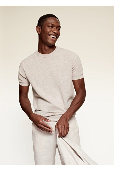 Erkek Bej Keten-pamuk Karışımlı Tişört