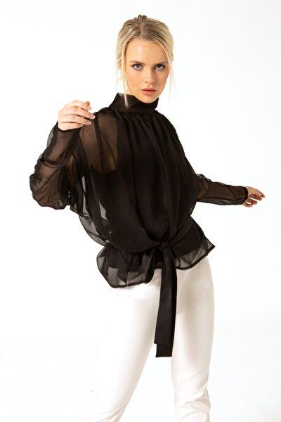 Kadın Siyah Kuşaklı Şifon Bluz