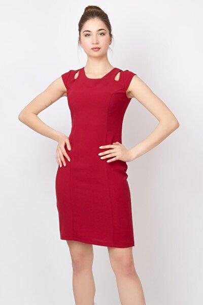 Kadın  Kırmızı Damla Yaka Abiye Elbise Mdv212