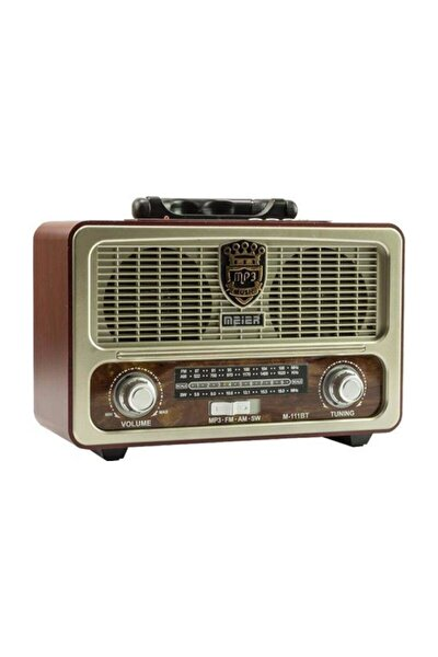 Nostaljik Ahşap Retro Fm Radyo Usb Sd Bluetooth