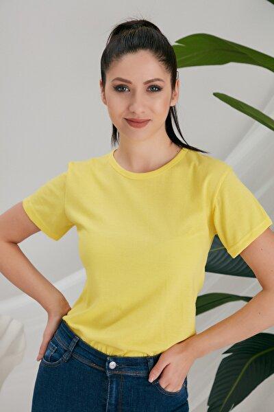 Kadın Sarı Basic Tshirt