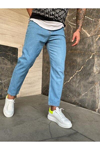 Erkek Havuz Mavisi Düz Boyfriend Jeans