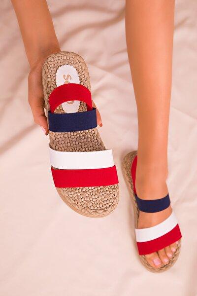 Kırmızı-Beyaz-Lacıvert Kadın Sandalet 15098