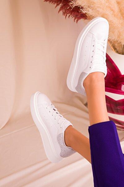 Beyaz-Gümüş Sim Kadın Sneaker 15941