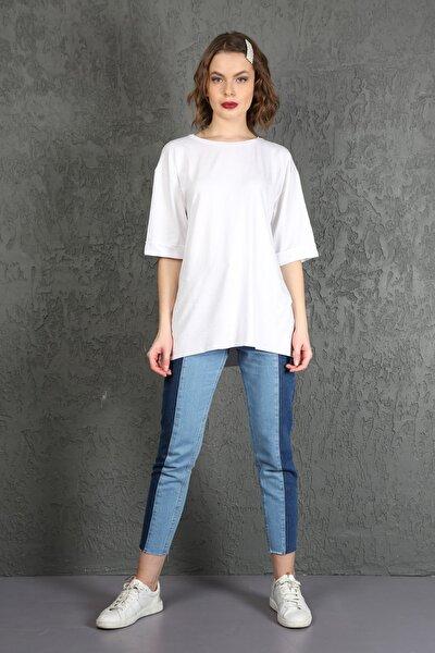 Kadın Mavi Bloklu Yüksek Bel Mom Jeans