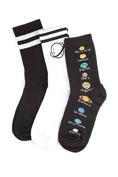 Siyah/beyaz 3' Lü Unisex Kolej Çorap No:5