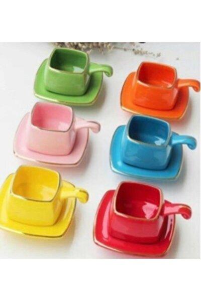 12 Parça 6 Kişilik Renkli Kahve Fincanı Takımı