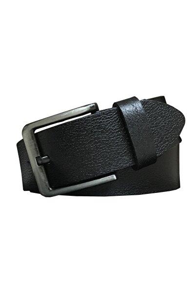 %100 Hakiki Deri Unisex Erkek Klasik Siyah 3,5cm Kot Spor
