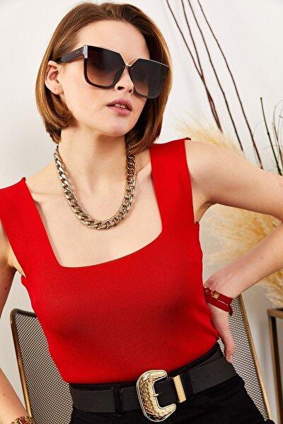Kadın Kırmızı Kalın Askılı Bel Üstü Yazlık Triko Bluz Blz-19000853