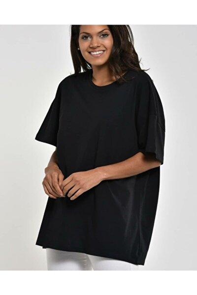 Kadın Siyah Basic Oversize Tshirt