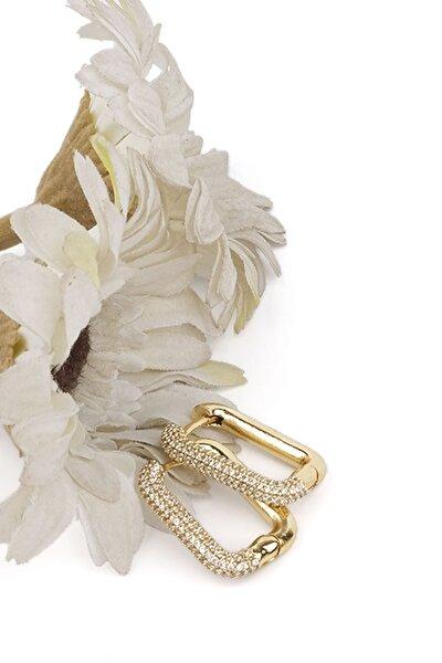 Kadın Altın Renkli Zirkon Taşlı Dikdörtgen Tasarım Küpealtın
