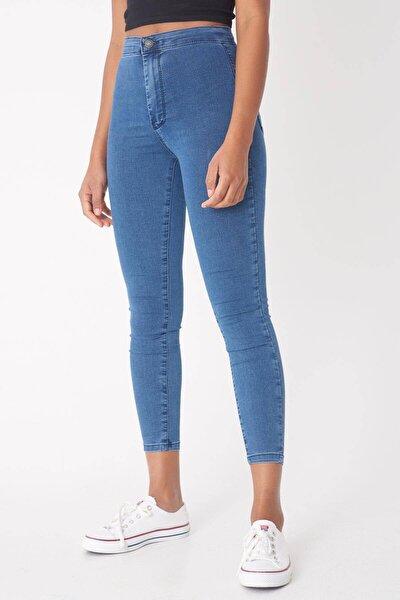 Kadın İndigo Yüksek Bel Pantolon Pn10915 - G8Pnn Adx-0000013630