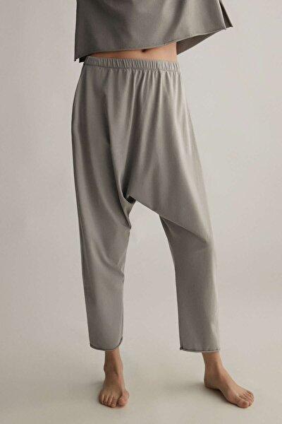 Kadın Gri Relax Cotton Harem Pantolon