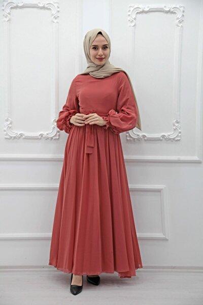 Kadın Pembe Kolları Lastikli Şifon Elbise